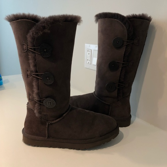 3f40d47dfee UGG Bailey Button Triplet II Boot Chocolate Brown